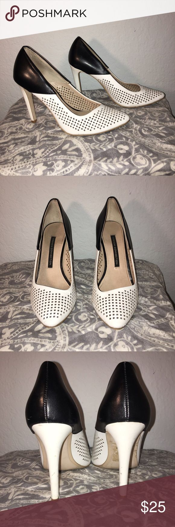 French Connection- Black and White Women's Pumps Cute, classy, and spunky pumps from French Connection! Worn a bit for work, and have a few minor flaws on the heels. Otherwise, in great shape! Comment questions! On Ⓜ️ for less! French Connection Shoes Heels