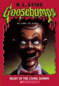 "Night of the Living Dummy by R.L. Stine When twins Lindy and Kris find a ventriloquist's dummy in a Dumpster, Lindy decides to ""rescue"" it, and she names it Slappy..."