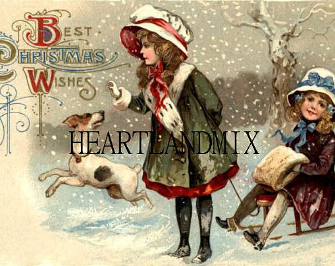 Antiguo arte de la pared de la Navidad de los niños de Victorian Vintage imagen descargar para imprimir