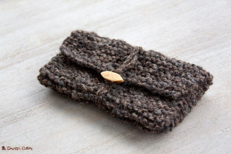 Pochette en laine biologique filée à la main - laine de mouton d'ouessant…
