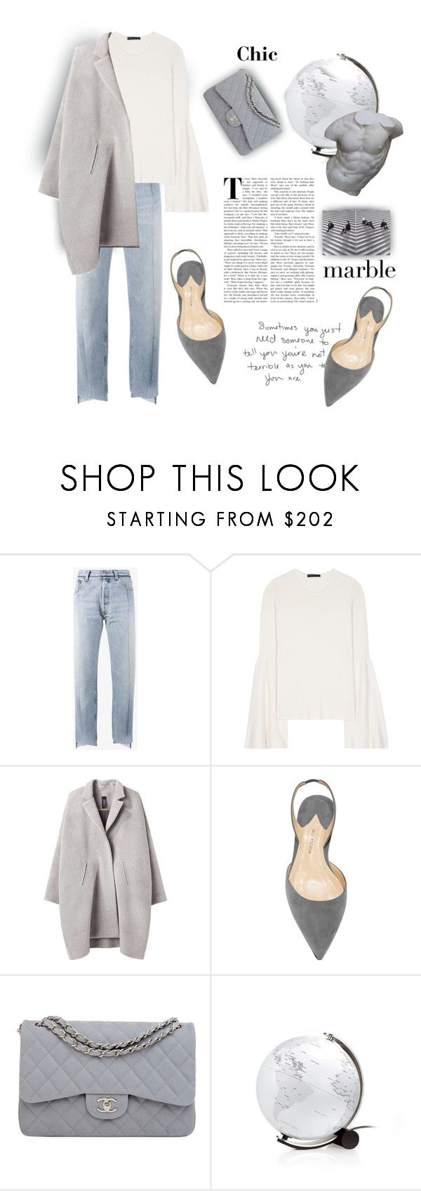 """""""Marble Chic"""" by kallimanis ❤ liked on Polyvore featuring Vetements, The Row, Zero + Maria Cornejo, Chanel and Romanelli"""