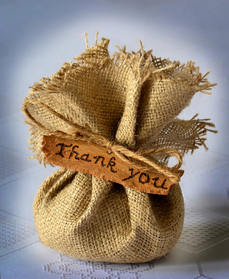 SET OF 50 Natural Rustic Burlap Wedding Favor Bag or Gift Bag with Thank you hang tag. $99.00, via Etsy.