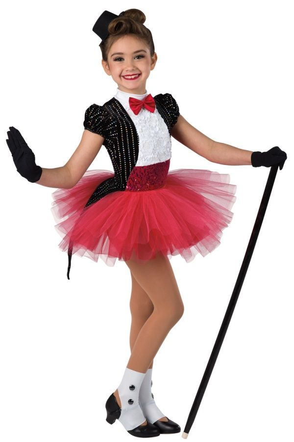 Style# 17102 BROADWAY BABY Sequined black velvet, red and white spandex leotard with sequined floral overlay and sequin on spandex insert. Separate red tulle over chiffon tutu. Satin bow and sequin braid trim. Headpiece and socks included. XSC-XXLA G12-Short black gloves, optional.