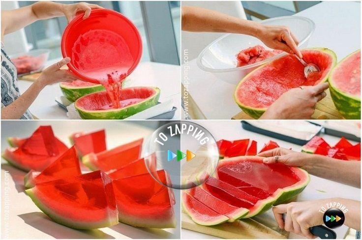 Postre de gelatina de sandia natural. Para esta receta de postre de gelatina de sandia natural, tenemos que utilizar el zumo de la sandía.Está deliciosa y
