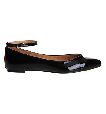 Office Kitten Point Ankle Strap Black Patent Leather - Flats