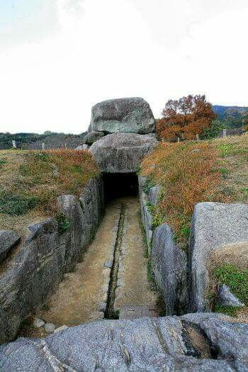 Ancient stone builders of Japan! I imagine this was used as a rail transport of some kind...