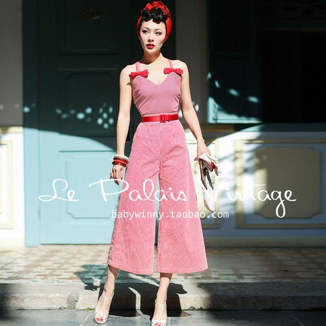 LIVRAISON GRATUITE Le Palais Cru D'été Nouveau Sexy Rouge Blanc rayé Arc V Cou Dos Nu Barboteuses Salopettes à Jambes Larges Slim femmes