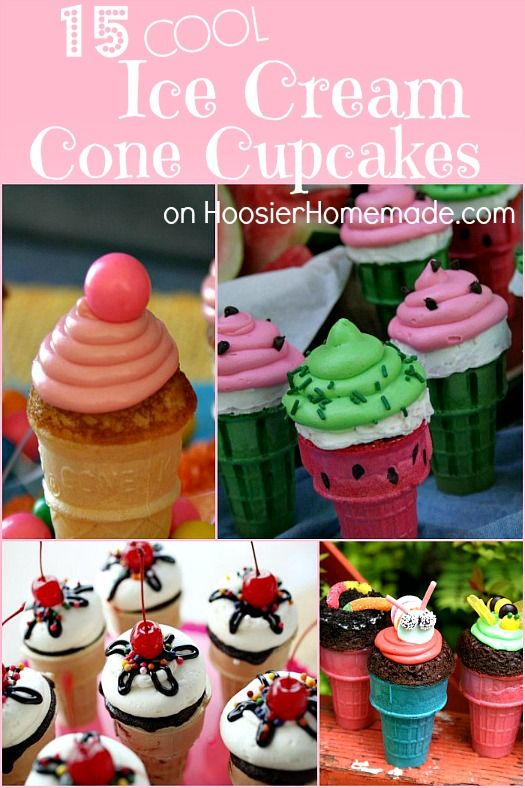 15 Ice Cream Cone Cupcakes Recipe on HoosierHomemade.com #cupcakes