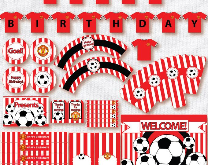 Soccer Printables Instant Download Printable Matching Custom Invitation Available Manchester United In Soccer Theme Parties Custom Invitations Party Themes