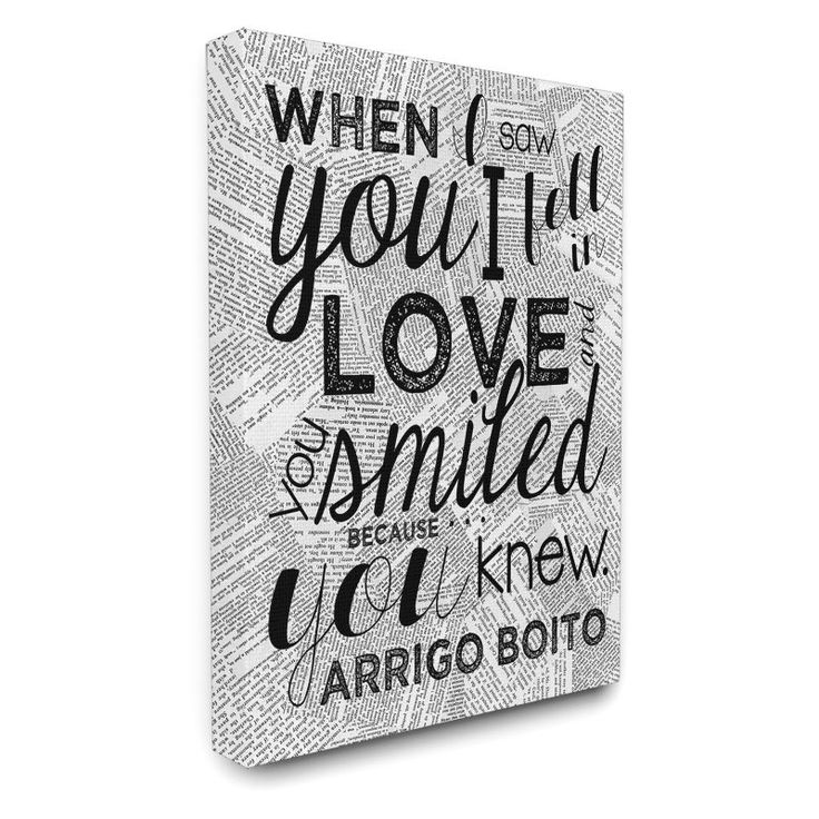 Stupell Decor When I Saw You I Fell in Love Quote Canvas Wall Art - MWP-225_CN_16X20