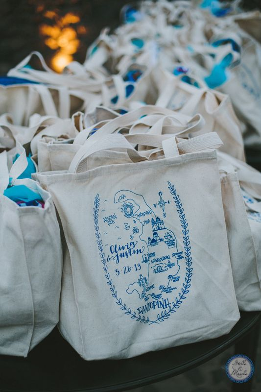 Welcome Bags | Rehearsal Dinner Santorini | Destination Wedding by Stella and Moscha - Exclusive Greek Island Weddings | Photo by Thanos Asfis