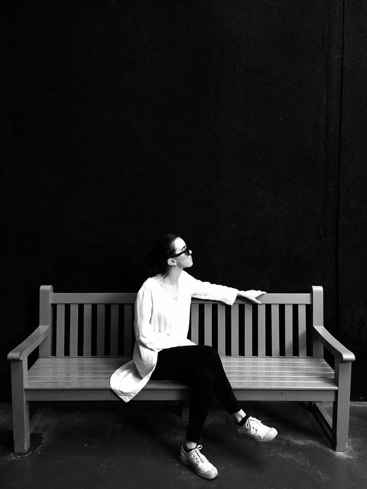 On a bench. In marrakesch.