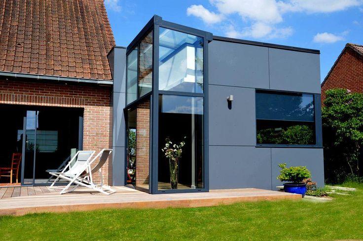 Maison en brique et extension en façades acier Casas Pinterest - exemple de facade de maison
