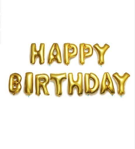 Mooie folie gouden letters van de tekst: Happy Birthday. Leuk voor een verjaardag. U kunt deze folieletters vullen met lucht of u kunt ervoor kiezen om ze te vullen ,met helium zodat ze kunnen blijven zweven. www.altijdfeestwinkel.nl