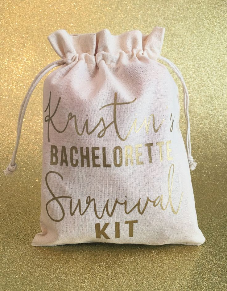 Bachelorette Survival Kit, Bachelorette Favors, Muslin Bags, Custom Gift Bags, Party Favors, Bridesmaid Gift, Bridal Shower, Bachelorette by My3BirdiesShop on Etsy