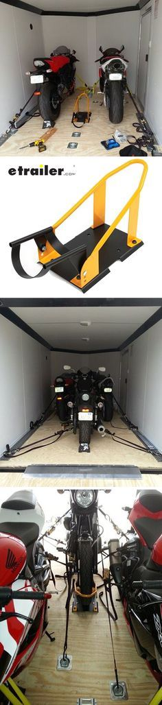 Easily and securely store or transport your motorcycle with this adjustable chock. Pivoting bracket lets you roll bike into place and then cradles its tire for more stability than with standard chocks. Bolts onto the floor of your shop or trailer. Perfect travel trailer accessory.