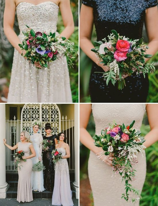 Mismatched Bridesmaids - different styles and colours but complimentary