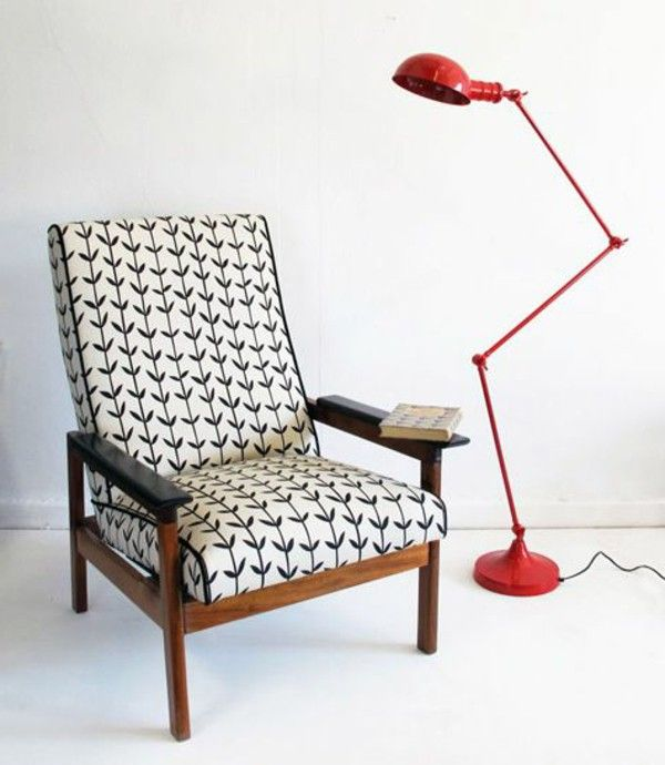 Retro armchair fresh patterns elegant red floor lamp