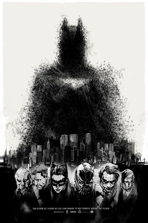 You Either Die a Hero or Live Long Enough to See Yourself Become the Villain: Movie Posters, Heroes, Batman Posters, Picture-Black Posters, Posters Prints, Knights Rise, Art, Comics, Dark Knights