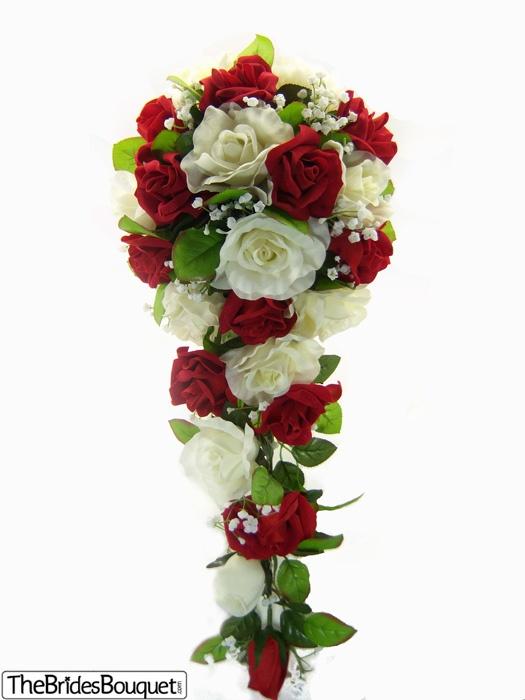 Royal Red, Ivory Silk Rose Cascade - Wedding Bouquet