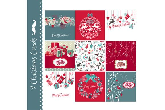 Check out 9 Christmas hand drawn cards by GraphicMarket on Creative Market http://crtv.mk/iOD0