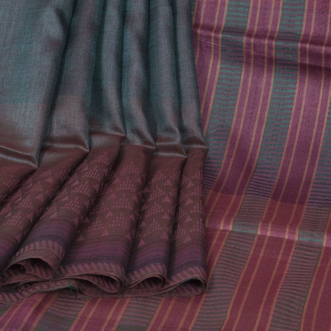 Rema Kumar Shuttle Grey & Congo Brown Hand Printed & Embroidered Tussar Silk Saree 10001702 - AVISHYA