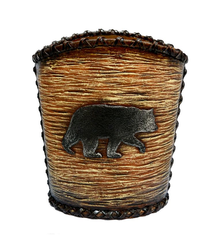 Bear Rustic Waste Basket