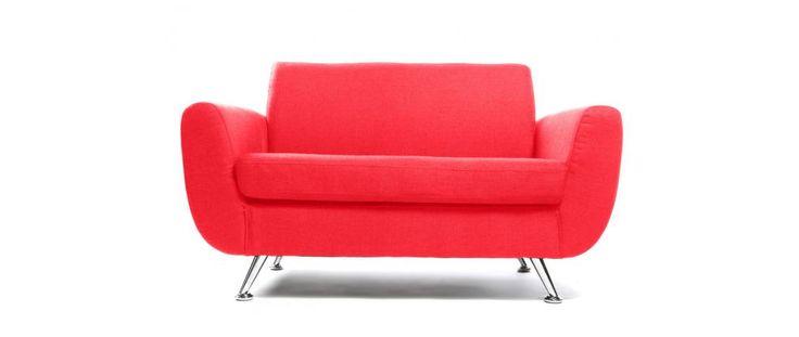Sofá de diseño 2 plazas rojo PURE - Miliboo