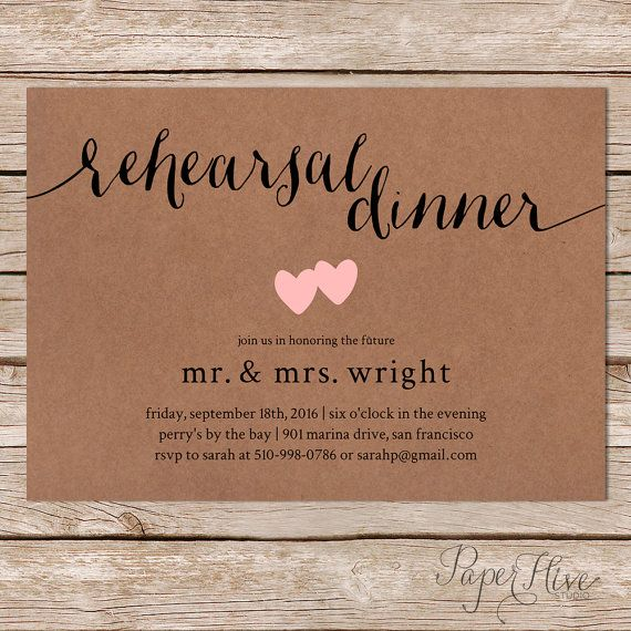 Our Milly rehearsal dinner invitation is simple and modern, featuring a calligraphy header and hand drawn hearts on a kraft paper background. Custom