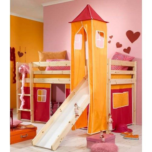 Stompa Minnie Solid Pine Natural Midsleeper Bed with Pink Tent, Orange Tower and Slide - without mattress  http://furniture123.co.uk/minnie-solid-pine-natural-midsleeper-bed-with-pink-tent-orange-tower-and-slide_20793