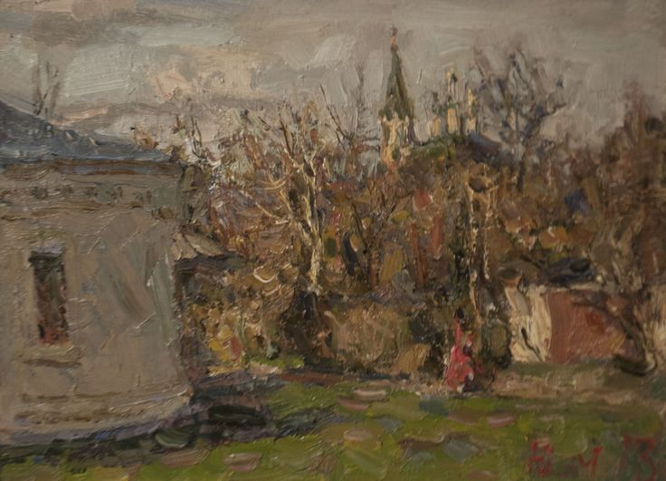 "Malanenkov Yuriy ""In the evening, Serpukhov"". Oil on carton 30х40 cm 2013."
