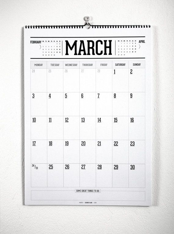 Monthly planner wall calendar by LibreCamp on Etsy, €17.00