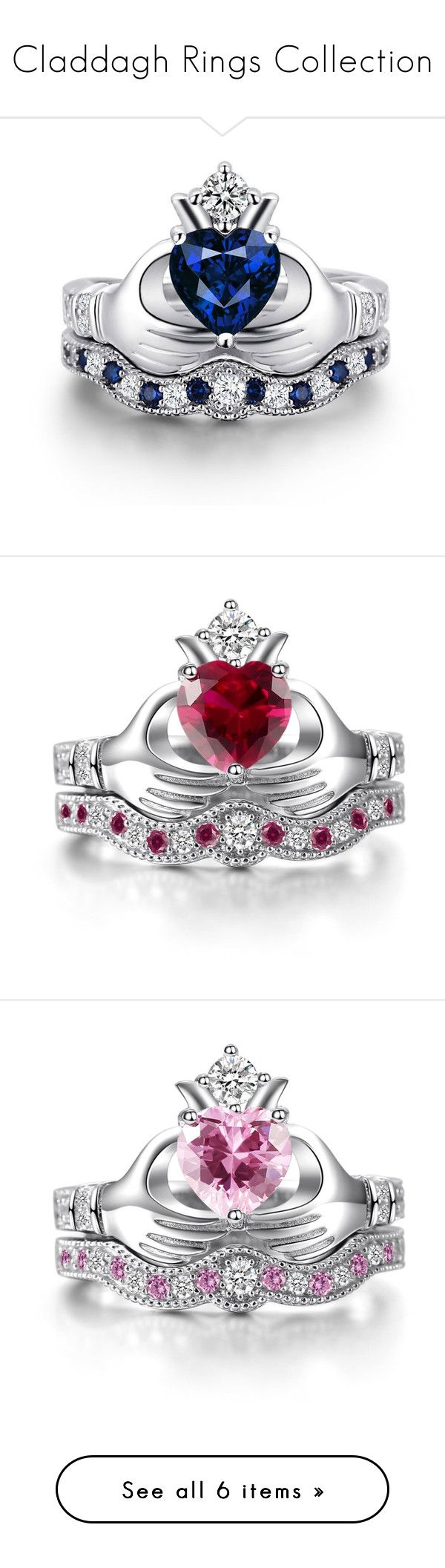 """""""Claddagh Rings Collection"""" by caperci on Polyvore featuring jewelry, rings, heart shaped rings, emerald ring, sterling silver heart ring, wedding rings and engagement rings"""