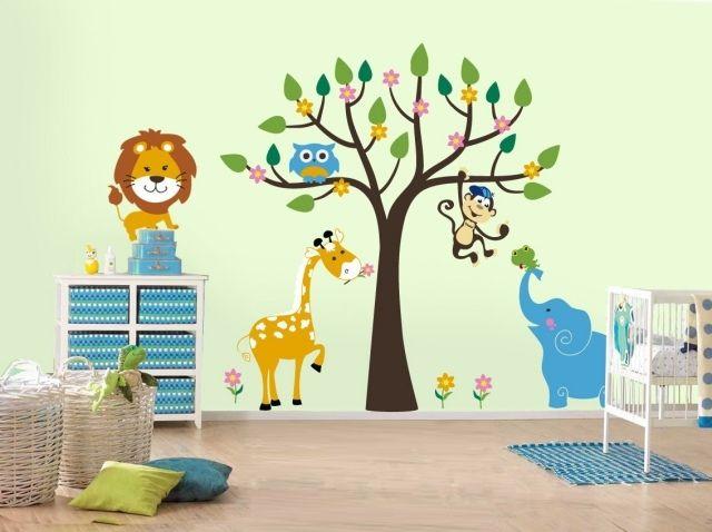 animaux sauvages autocollants dans la chambre bébé