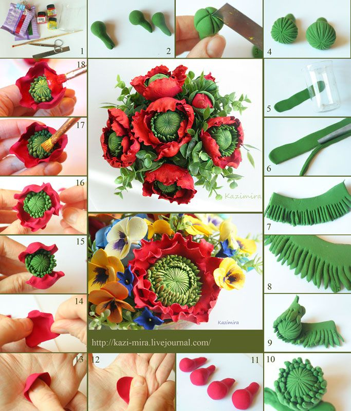 visual polymer clay tutorial for layered flower.