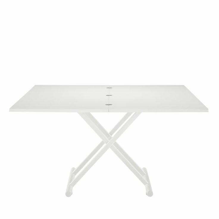 Height Adjustable, Expandable Brunch table in White Laminate. From coffee to Dinner in two effortless movements. Closed 26h x 70w x 110d cm epanding to 81h x 110w x 140d cm.