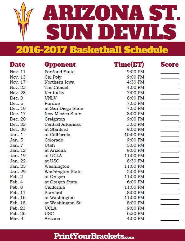 Arizona State Sun Devils Basketball Schedule