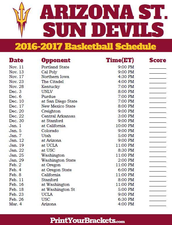 Arizona State Sun Devils Basketball Schedule