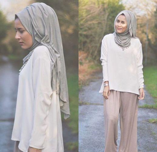palazzo pants white blouse hijab