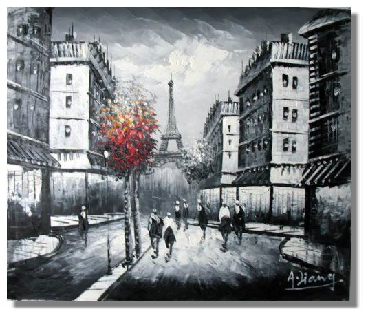 Black and white paintings black and white london red tree eiffel tower painting knife09