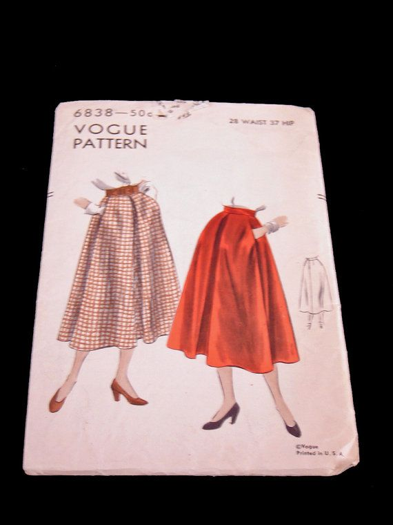 Vintage Vogue Skirt Pattern 40s No6838 Size by littlebitvintage2, $10.70