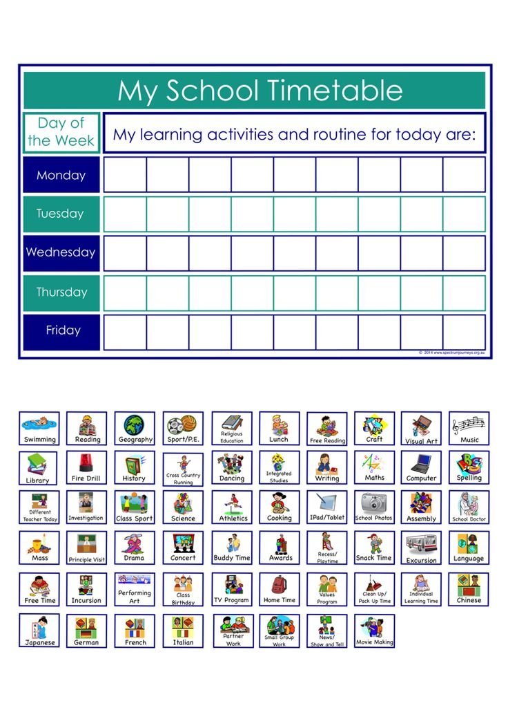 Designed to sit on a childs desk, this visual timetable allows children to see the activities they will be participating in throughout the day. Especially beautiful for middle to upper primary (elementary) aged children with Autism, who may need to see an overview of their day. FREE download.