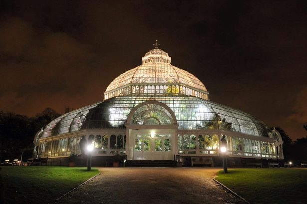 The Palm House in Sefton Park,lit up at night