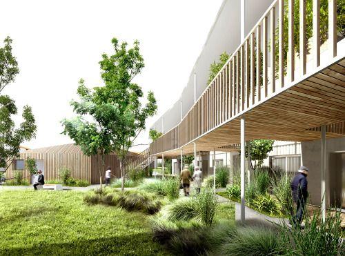 13 logements pour séniors & Extension d'un EHPAD // VIEILLEVIGNE 44 // Agence HUCA + Maxime Oger & Solene Jacob architectes http://www.huca.fr/
