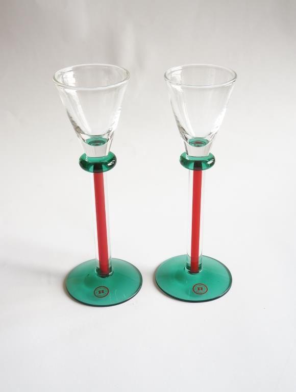 ** Reijmyre två läckra höga snapsglas i rött & grönt ** på Tradera.com