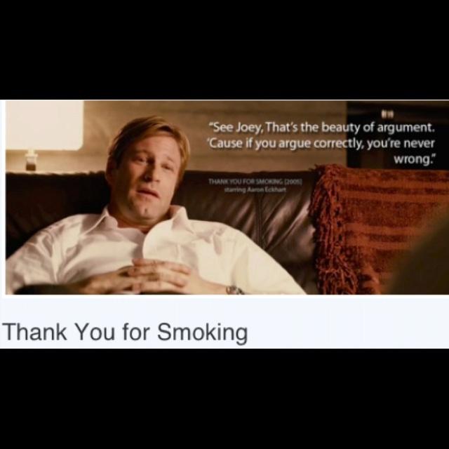 Thank you for smoking negotiation argumentative essay