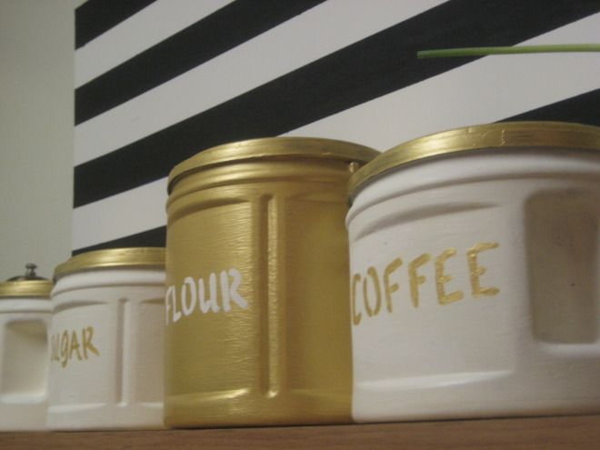 DIY Canisters from plastic Folgers coffee cans.