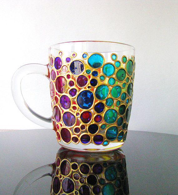 Colector de taza arco iris sol café tazas tazas burbujas Multi