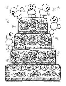 Coloring page for adults and grown ups inspired by Frozen fever featuring a charming birthday cake to color with cute mini snowmen dancing and playing on every tier. This free coloring page will be fun to fill with color.