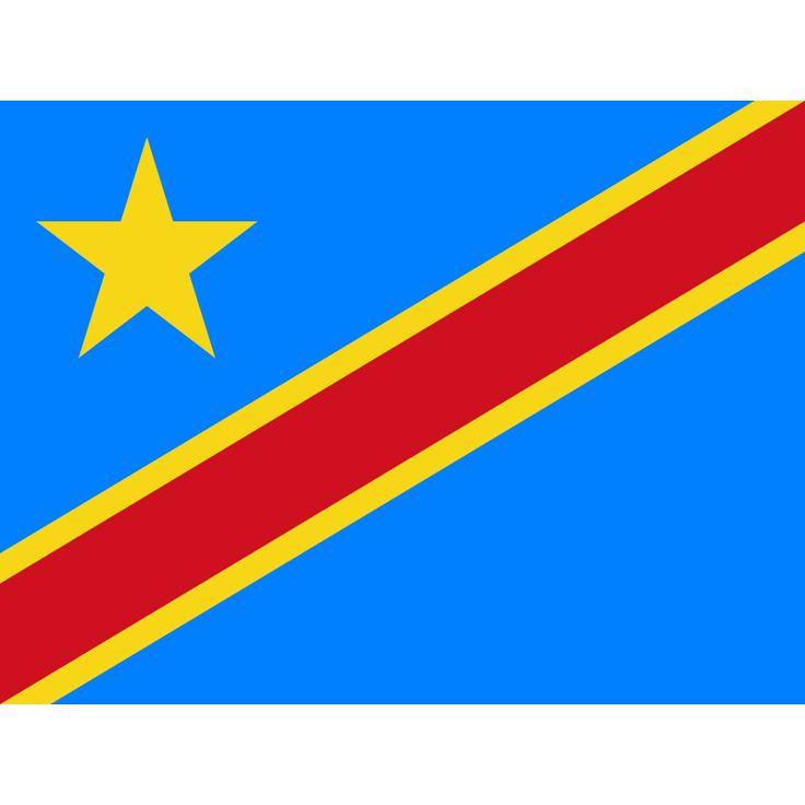 Tafelvlaggen Democratische Republiek Congo 10x15 cm   Congolese tafelvlag De huidige vlag van Congo-Kinshasa werd aangenomen op 18 februari 2006, dezelfde dag dat het huidige Congolese wapen in gebruik werd genomen. De vlag bestaat uit een lichtblauw veld met daarop in de linkerbovenhoek een gele ster. Van de hoek onderaan de hijszijde tot de rechterbovenhoek loopt een diagonale rode band met aan weerszijden een smallere gele band